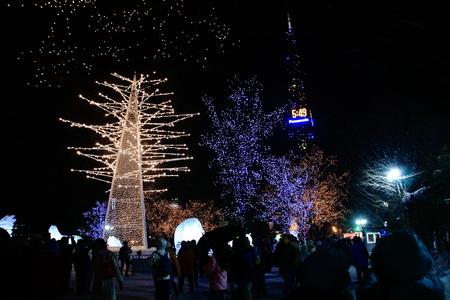 札幌日本のミュンヘンクリスマスマーケット照明 写真素材 - 92669864