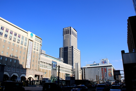Sapporo Station and its surrounding landscape