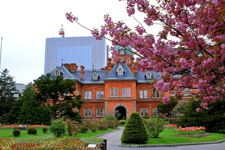 Old Hokkaido Red brick building office in Sapporo in spring Stock Photo - 93789755