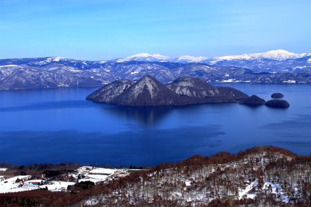 Scenery around Hokkaido lake Toya Stok Fotoğraf
