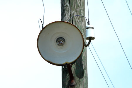Wooden telephone pole Streetlight Фото со стока