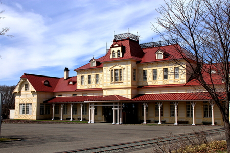 Building of former Sapporo station of Hokkaido history pioneering village Banque d'images