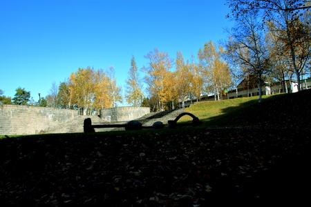 In the fall scenery of Hokkaido, Sapporo, Ishiyama parkland park 写真素材