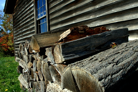 Scenery of firewood hut Stockfoto
