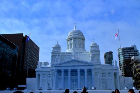 February 2019, Japan, in Hokkaido, the 70th Sapporo Snow Festival venue landscape.