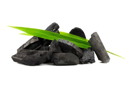 Natural wood charcoal,Bamboo charcoal powder has medicinal properties with traditional charcoal isolated on white background - Image