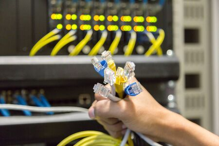 Cables Lan in hand. 免版税图像 - 149435196