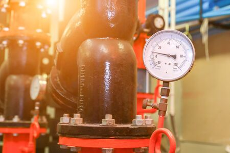 pressure gauge psi meter in pipe and valves of fire emergency system industry