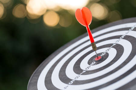 Red dart target arrow hitting on bullseye with,Target marketing and business success concept.