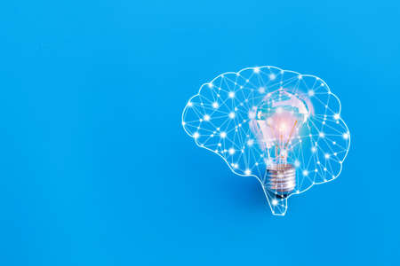 Brain and lamp,great idea and innovation concept. 免版税图像