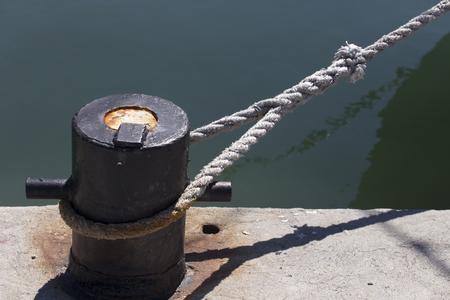 Ships mooring bollard with heavy duty mooring ropes photo