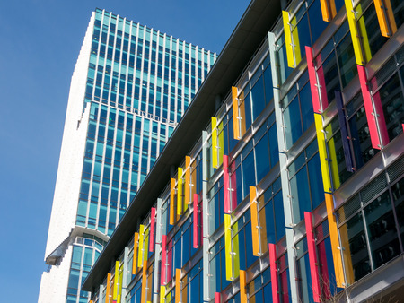 exterior wall: AMSTERDAM, NETHERLANDS - MARCH 22, 2015: Som and Mahler 4 Office Tower buildings in financial business district Zuidas