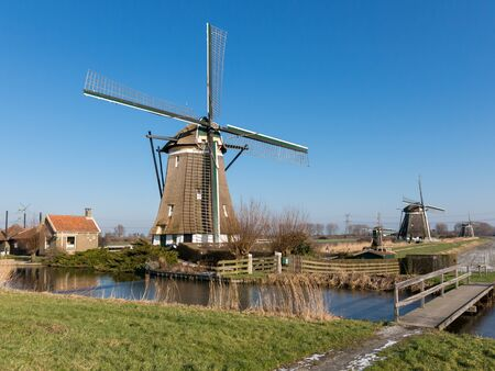 polder: Windmill corridor in polder near Zevenhuizen in the province of South Holland, Netherlands Stock Photo