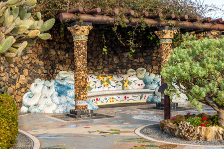 Mosaic works by Luis Morera in Plaza La Glorieta in the town of Las Manchas, La Palma, Canary Islands, Spain 報道画像