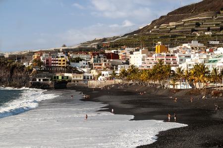 island: Black beach of Puerto Naos on the west coast of the island La Palma, Canary Islands, Spain