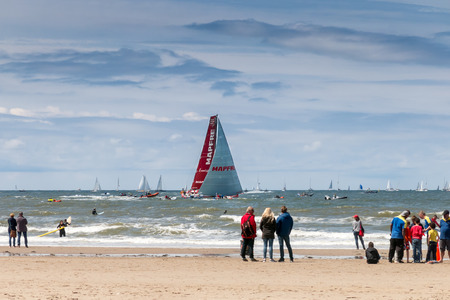 scheveningen: SCHEVENINGEN, THE HAGUE, NETHERLANDS - JUNE 18, 2015: Volvo Ocean Race Stopover Festival in Scheveningen, The Hague, Netherlands - 19th June 2015 VOR 2014-2015