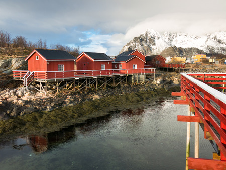 rorbuer: Rorbuer, fishermans cabins, in Henningsvaer on Lofoten Islands, Norway