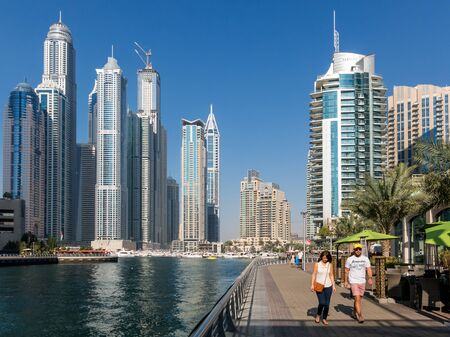 residential building: Highrise buildings in the Marina district of Dubai, United Arab Emirates