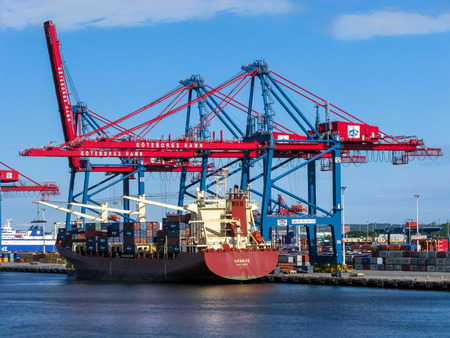 gothenburg: Container ship at container terminal in port of Gothenburg, Sweden Editorial