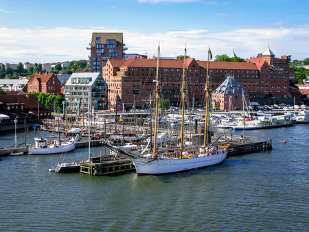 gothenburg: Jetties with sailboats and yachts along Gota Alv River in the harbour of Gothenburg, Sweden Editorial