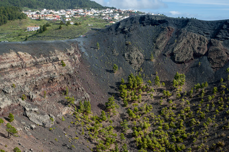 scoria: Fuencaliente and crater of San Antonio Volcano in the south of the island La Palma, Canary Islands, Spain