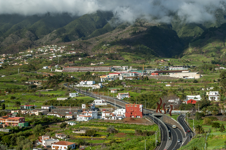canaries: View of Brena Alta and the foothills of Cumbre Nueva from Mirador de la Conception on the island La Palma, Canary Islands, Spain Stock Photo