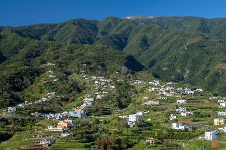 alongside: View towards Cumbre Mountain Ridge from Mirador de San Bartolom alongside the east coast north of Santa Cruz on the island La Palma, Canary Islands, Spain