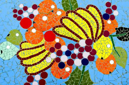 Mosaic works by Luis Morera on Plaza La Glorieta in the town of Las Manchas, La Palma, Canary Islands, Spain