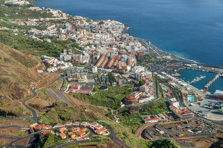 View of the capital Santa Cruz from Mirador de la Concepcion, La Palma, Canary Islands, Spain