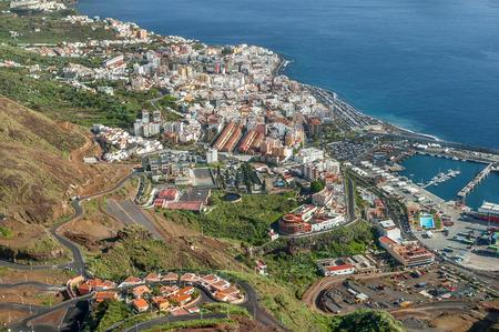 mirador: View of the capital Santa Cruz from Mirador de la Concepcion, La Palma, Canary Islands, Spain