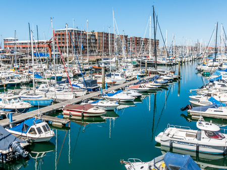 scheveningen: SCHEVENINGEN, THE HAGUE, NETHERLANDS - MAY 26, 2015: Yachts in Marina Scheveningen in the harbour district of the city of The Hague, Netherlands