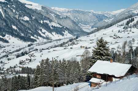wintersports: Winter landscape of the village of Lenk in the Simmental valley in Switzerland Stock Photo