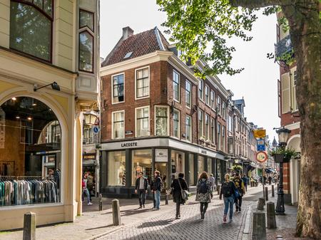 retail scene: UTRECHT, NETHERLANDS - MAY 21, 2015: People in shopping streets Lijnmarkt and Zadelstraat in the city center of Utrecht, Netherlands