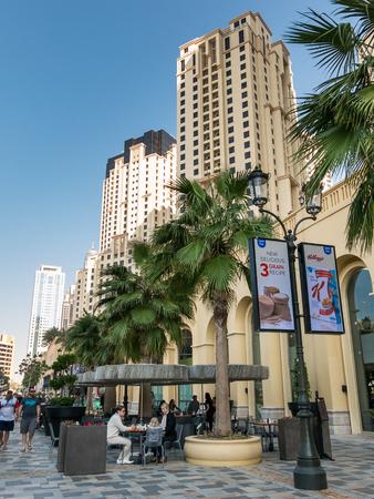 streetscene: People on The Walk Promenade in the Marina district of Dubai, United Arab Emirates