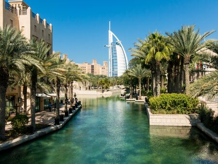 united arab emirate: Madinat Jumeirah Resort and tower of Burj al Arab Hotel in Dubai, United Arab Emirates Editorial