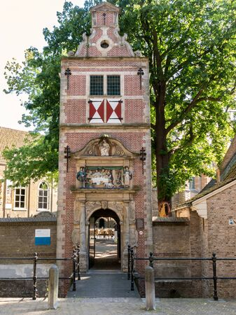 lazarus: GOUDA, NETHERLANDS - JUNE 10, 2015: Lazarus Gate, entrance to Museum behind Saint Johns Church in the city of Gouda, Netherlands
