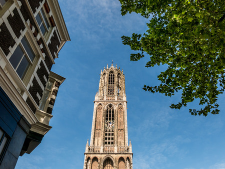 Top of Catholic St. Martin's Cathedral Dom Tower in the city of Utrecht, the tallest church tower in the Netherlands Standard-Bild