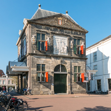 GOUDA, NETHERLANDS - JUNE 10, 2015: Old cheese weigh house - now museum on Market Square in the city of Gouda, Netherlands Editorial