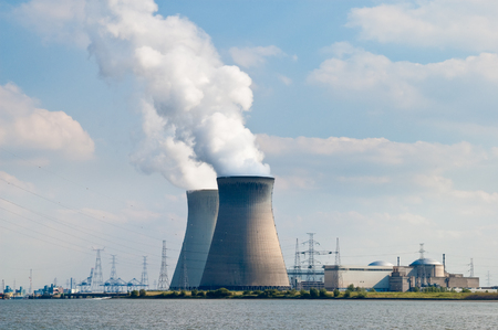 cooling towers: Cooling towers of nuclear power plant of Doel near Antwerp, Belgium