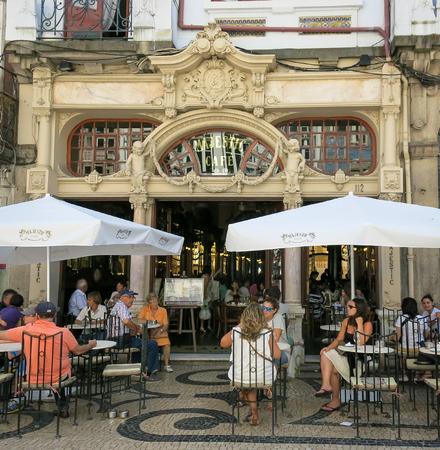 majestic: People on outdoor terrace of famous cafe Majestic in Rua Santa Catarina, Porto, Portugal