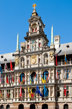 townhall: Front facade of city hall on Great Market Square in Antwerp, Flanders, Belgium