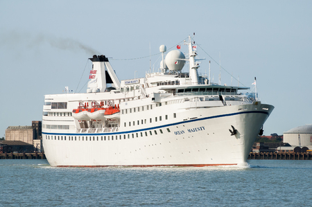 felixstowe: Cruise ship MS Ocean Majesty leaving the port of Felixstowe in Suffolk, England, UK