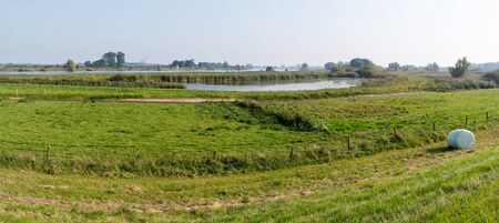 ijssel: Panorama of IJssel River forelands in autumn, Gelderland, Netherlands Stock Photo