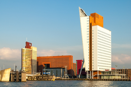 meuse: Rotterdam skyline from New Meuse River: Wilhelmina Tower l, New Luxor Theatre m and Toren op Zuid r also known as KPN Tower by architect Renzo Piano on the Kop van Zuid, Wilhelmina Pier, Rotterdam, Netherlands