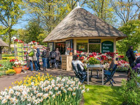 tulipan: Turyści kupują prezenty na cebulki kwiatowe sklep z pamiątkami wiosną w ogrodach Keukenhof w Lisse, Holandia, Holandia