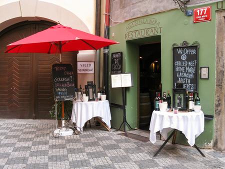 stare mesto: Entrance of restaurant in Stare Mesto, the old city centre of Prague, Czech Republic