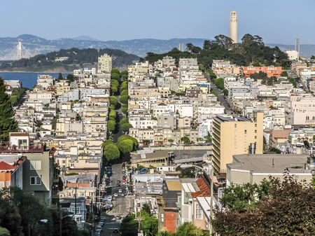 coit: View of Telegraph Hill and North Beach district from Van Ness Avenue, San Francisco, California, USA