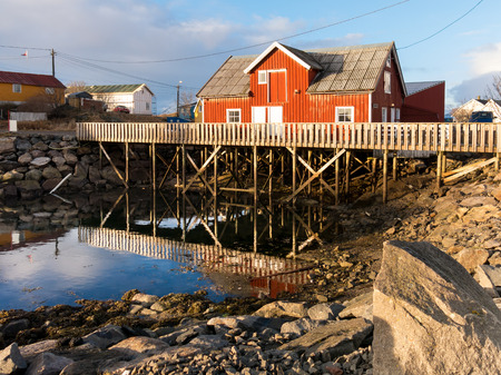 rorbuer: Rorbu fishermans cabin in Henningsvaer on Austvagoy, Lofoten Islands, Norway Stock Photo