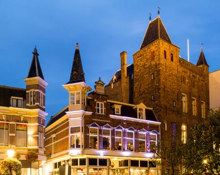 Oudaen Casle at Oudegracht canal in the old city centre of Utrecht, Netherlands Standard-Bild