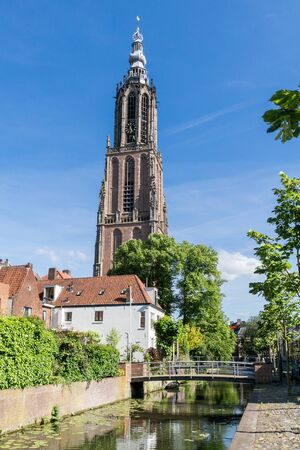 church tower: Long John or the church Tower Of Our Lady and Westsingel canal in the city of Amersfoort, Netherlands